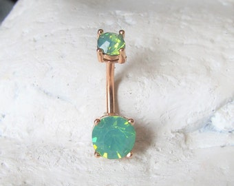 Rose Gold,Pacific Opal,Surgical Steel Prung Set Double Jeweled Navel Belly Ring..14g..10mm
