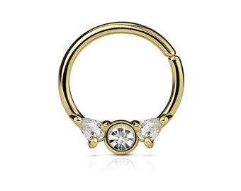 Golden Septum Bendable Ring..16g..10mm..Surgical Steel