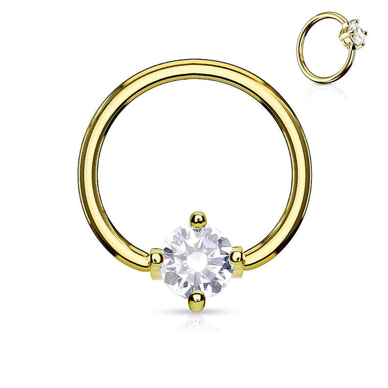 Golden Nipple Prung Set Surgical Steel Ring..14g..12mm Single one