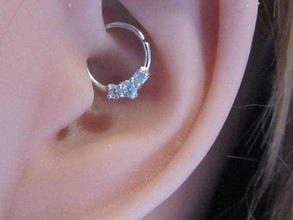 14k Solid weiß Gold Daith, Helix, eng Piercing Ring 18g 8mm