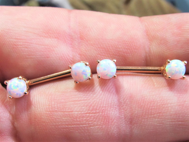 Rose Gold Plated White Opals5mm Nipple Piercing Barbels image 0