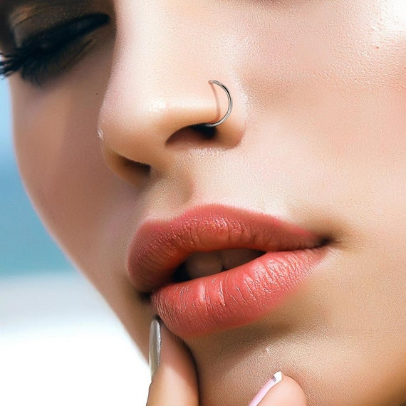 Titanium Nose Ring Hoop Implant G23 8mm 18g And 20g Etsy