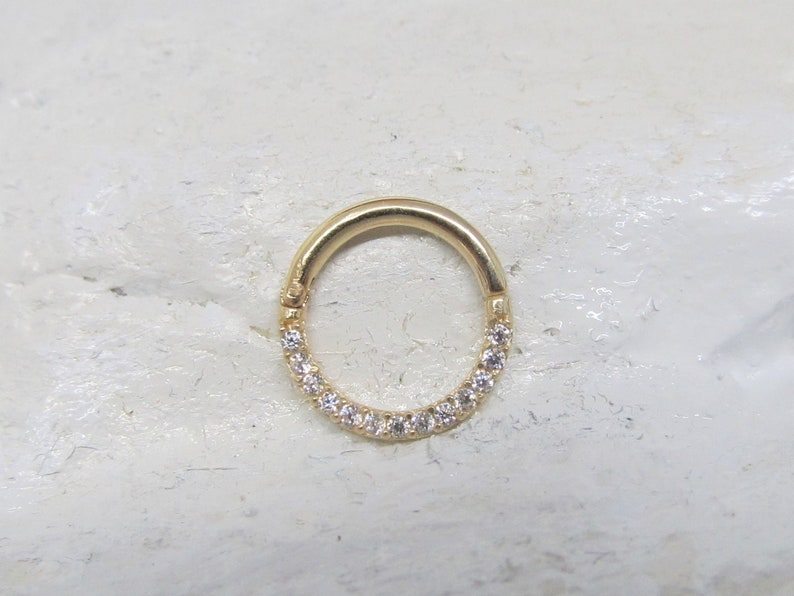 aff1b5495b2e9 14k Solid Gold Septum,Daith Piercing Hinged Hoop Half Paved cz Clicker  Ring..16g..8mm or 10mmH