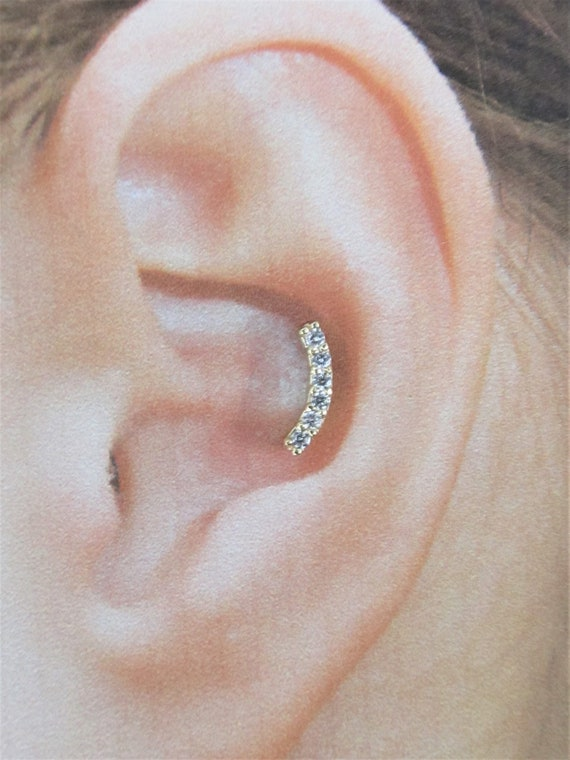 Gold Plated 6 cz Inner Conch,Snug Piercing Labret..16g..6mm OR 8mm