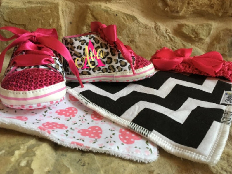 Girls Leopard Shoes/ Baby Custom Shoes/High Top Girl image 0