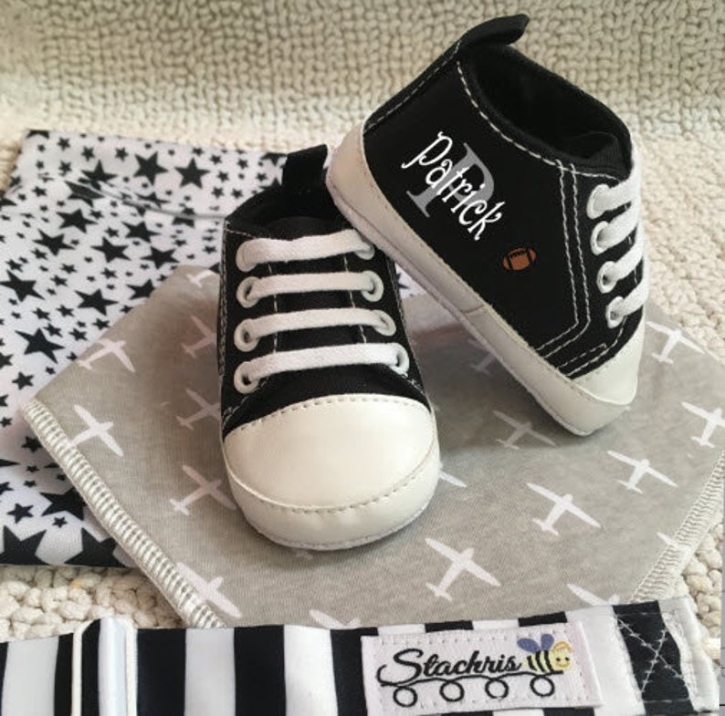 Black Boy ShoesPersonalized ShoesBaby Boy GiftBaby image 0