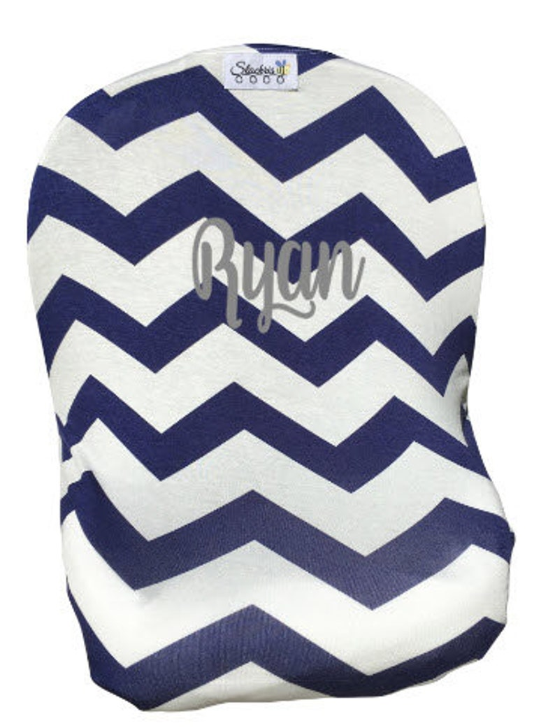 Baby Gift/Personalized Blue Chevron Car Seat Cover/Privacy image 0