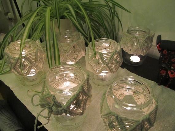Macrame Jar Macrame Candle Holdermacrame Decor Boho Decor Etsy