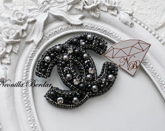 Fashion Black Brooch with Swarovski pearls   Handmade jewelry   Swarovski  brooch   Sequin embroidery   Fashion brooch 912ad8e00