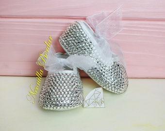 Bling baby shoes with Swarovski Crystals - Christening Flowergirl shoes - Embellished Booties - Swarovski ballet Pram shoes