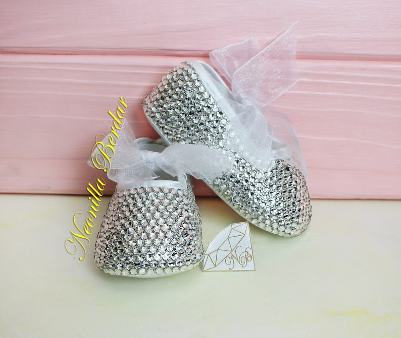 34ac4dabf47c8b Bling baby shoes with Swarovski Crystals Christening