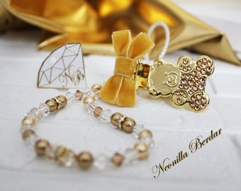 Golden Pacifier clip made with Swarovski Crystals, Beads and Pearls. Baby Shower Gift. Teddy Bear Metal Dummy Clip by Neonilla Berdar