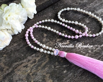Pink Sotuar with Swarovski pearls • Pink Tassel necklace with Swarovski crystals Long necklace • Chic pendant Beaded jewelry