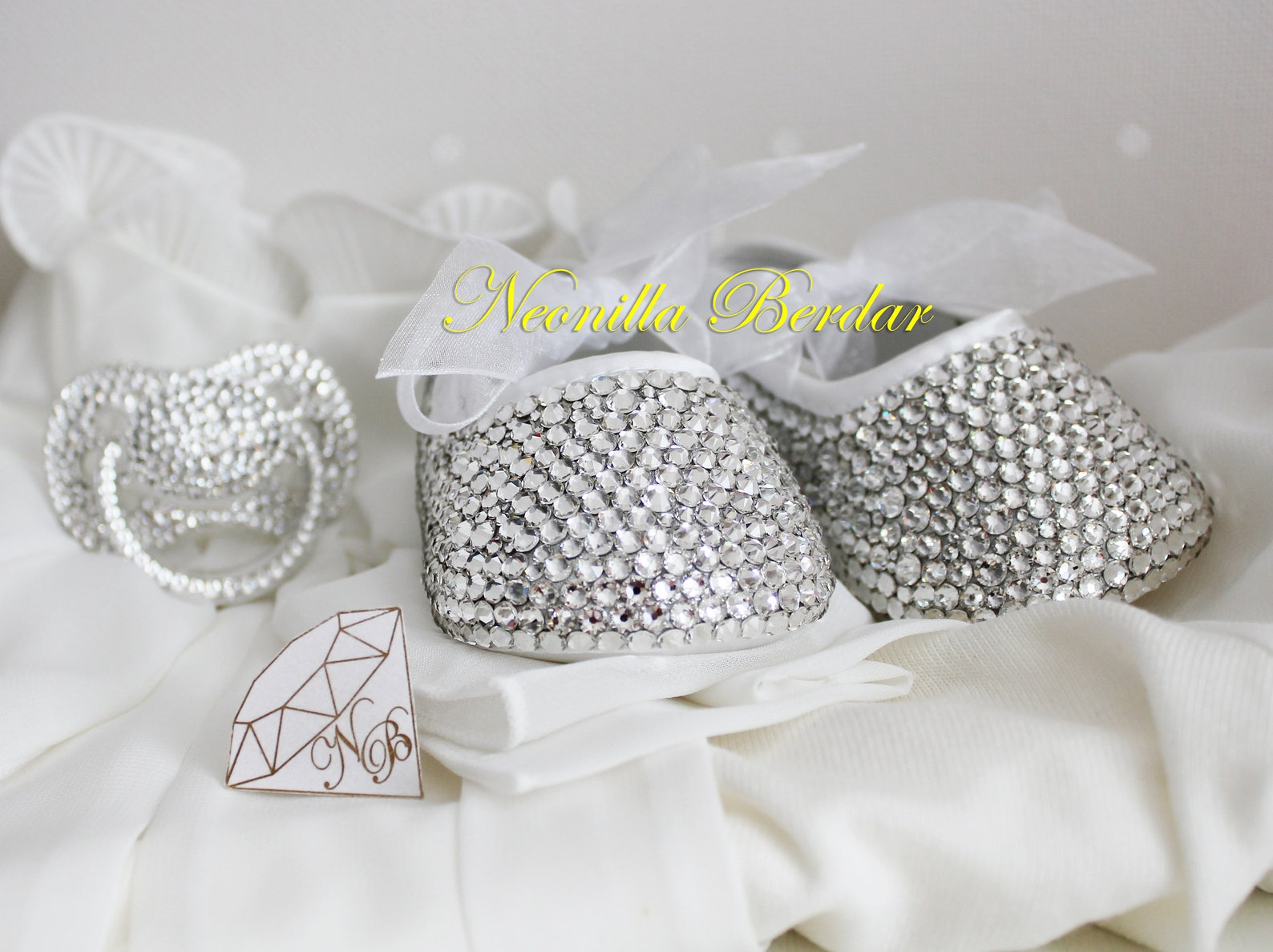 bling baby shoes with swarovski crystals - christening flowergirl shoes - embellished booties - swarovski ballet pram shoes