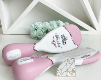 Pink Personalized Brush set with Swarovski crystals. Baby Gift Hair Brush. Baby Shower Gift Personalized brush By Neonilla Berdar