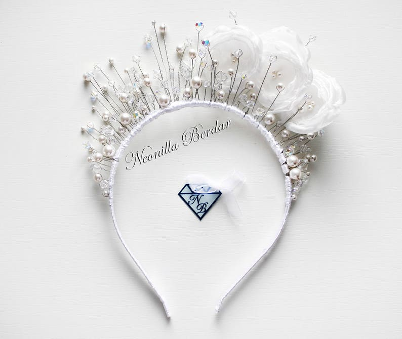 bb5fa0775325 Crystal pearl headband with Swarovski pearls. Headband with