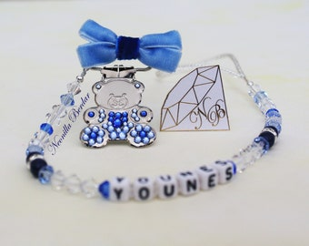 Personalized Pacifier clip made with Swarovski Crystals, Beads and Pearls. Baby Shower Gift Heart Metal Clip. Blue Teddy Bear Clip.