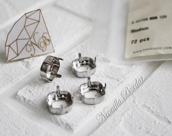12 mm 4470S Sew-On Settings for Swarovski Cushion Cut Square Fancy Stones Rhodium Plated