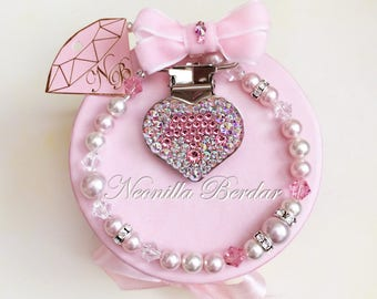 Pink Pacifier clip made with Swarovski Beads, Pearls and Crystals - Baby Shower Gift - Heart dummy holder - Designed by Neonilla Berdar