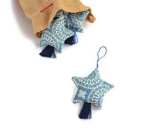 Cristmas Ornaments. Cristmas Tree Ornaments. Christmas Decoration. Christmas Star. Set of ornaments. House Decor. Fabric Ornaments