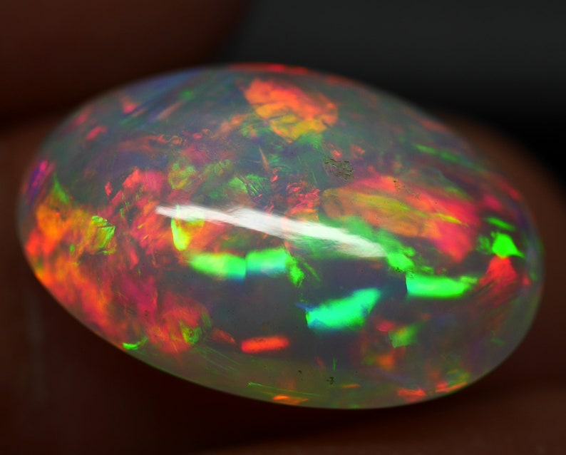 1 Piece 10 Carat 19.5x13x8 mm Natural Ethiopian Opal Multi Fire A+++ Oval Cabochon Opal Ring Size loose Gemstone ATBS06