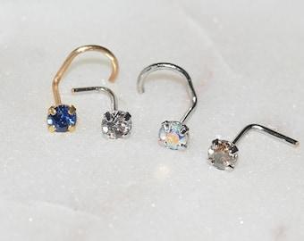 Swarovski Crystal Nose Pin,L shape nose pin, Swarovski nose stud,  silver nose ring, rose gold nose ring,nose stud,unisex nose pin