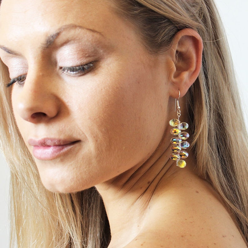 07ba90109 Aurora AB Disco Swarovski Crystal Silver Drop Earrings gift | Etsy