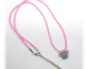 Necklace with rhinestone crown