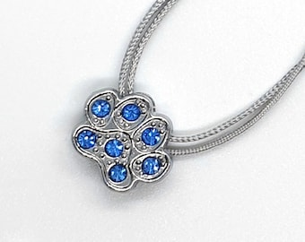 Necklace with rhinestone dog paw