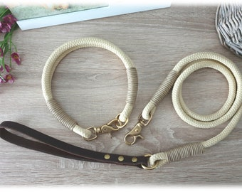 SET dog leash tau with leather loop and collar tau