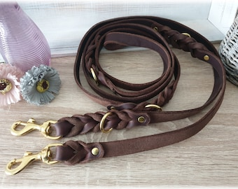 Leather Dog Leash adjustable-200 cm with Braiding