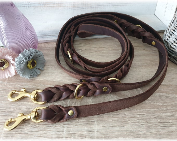 Leather dog leash adjustable with intricate braiding