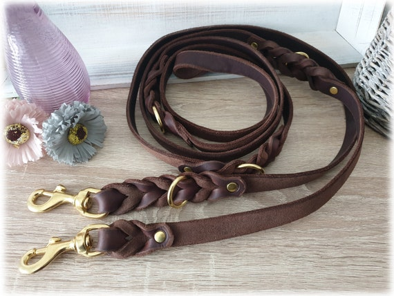 Leather Dog Leash adjustable-200 cm with Braiding