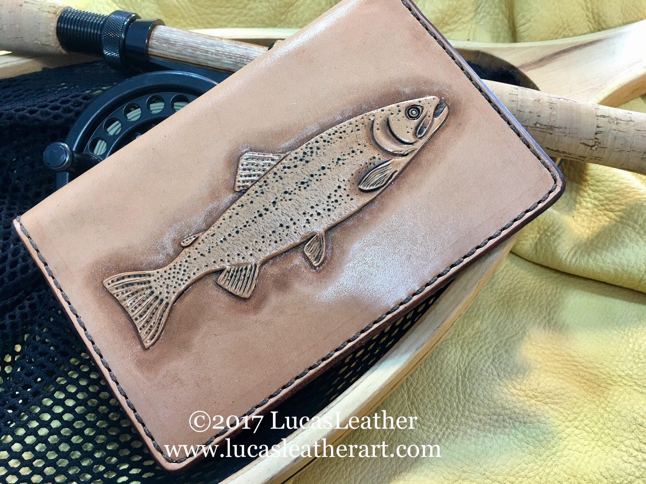 Hand Carved Leather Rainbow Trout Field Notes Cover