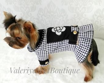 e21569f0d20250 Houndstooth dog jacket Chewnel jacket Luxury dog coat Dog dress with  rhinestones Handmade dog clothes Designer dog outfit Dog couture