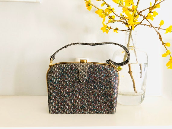 Vintage waldy glitter material claps evening bag,