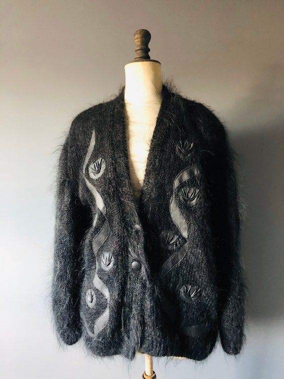 Vintage 80s black mohair and leather appliqué over