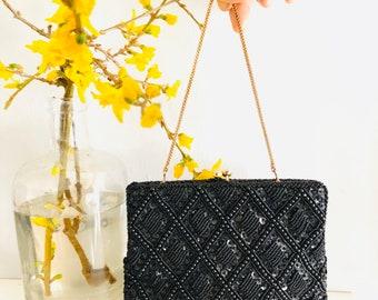 Vintage black beaded evening clutch bag. Vintage beaded party clutch bag. Wedding , party , black beaded bag