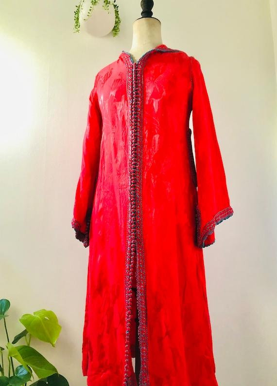 vintage red stain moroccan djellaba kaftan dress ,
