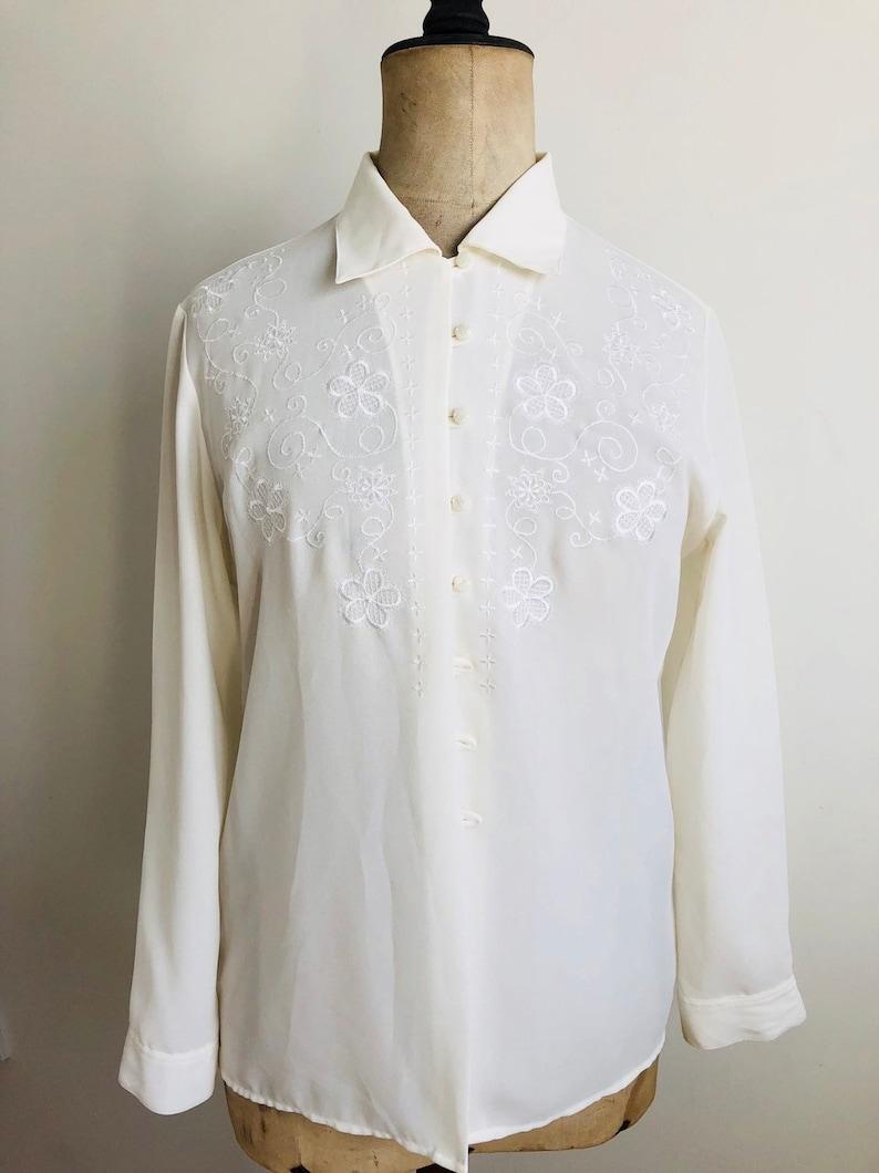 Vintage St Michael women/'s off white embroidered shirt size12 vintage white embroidered blouse women/'s blouse