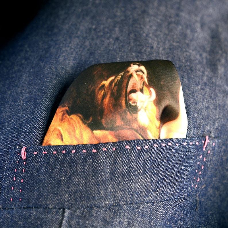 Daniel In The Lions/' Den Sir Peter Paul Rubens suit wedding Satin Silk Handkerchief Hand stitched Pocket Square