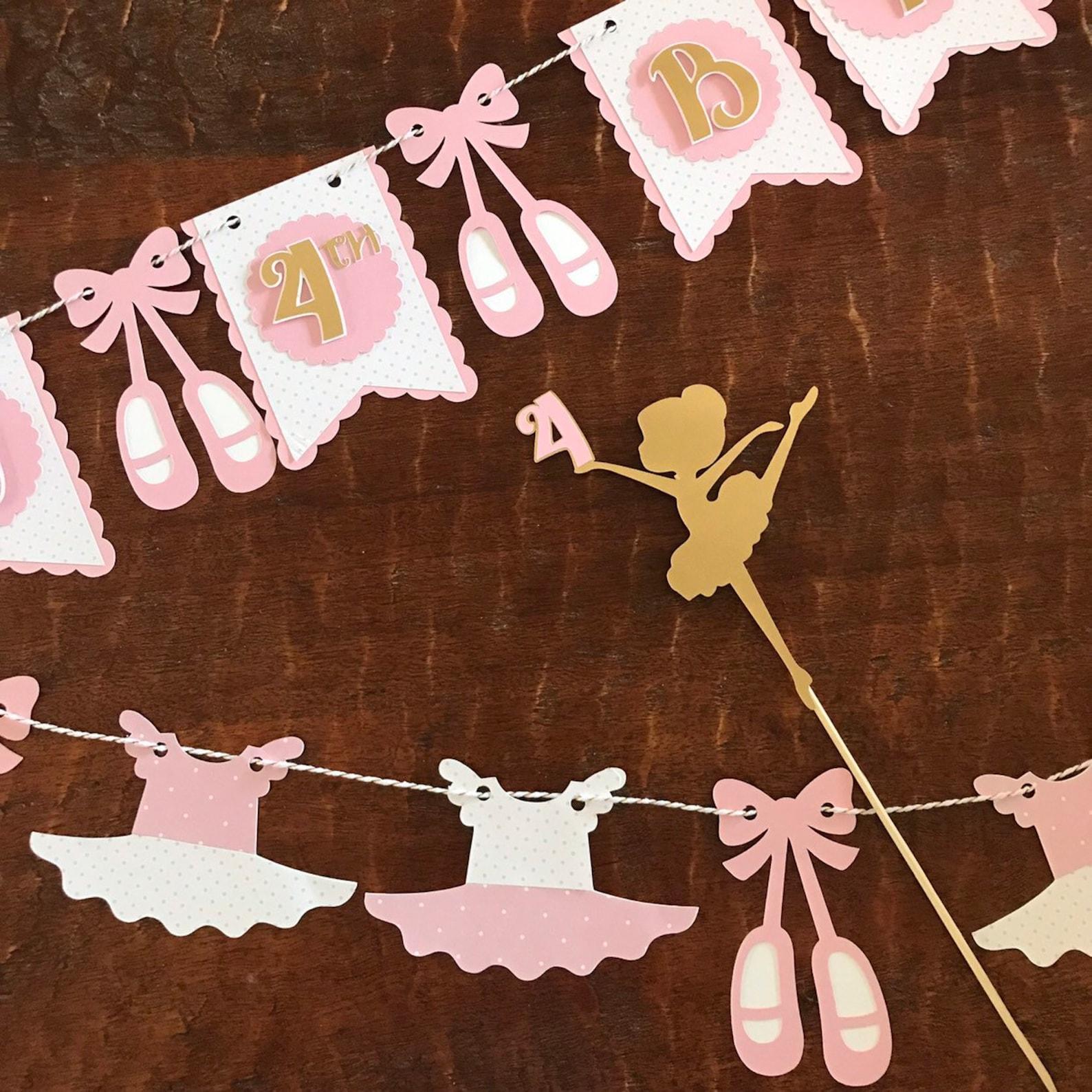 ballerina birthday banner, ballet slippers, tutu, ballerina pink and gold banner, ballet shoes, ballerina leotard, two two birth