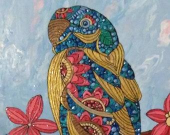 Parrot Perch Painted Tile