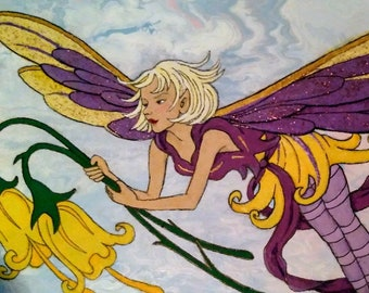 Buttercup Fairy Painted Tile