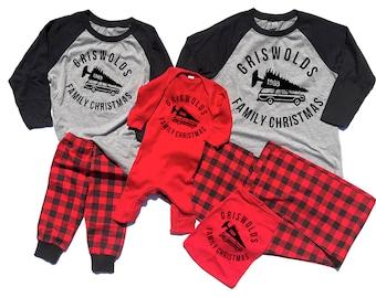 Christmas Vacation Pajamas - Matching Christmas Pajamas - Buffalo Plaid Pajama - Family Pajamas - Christmas Vacation - Couples Pajamas