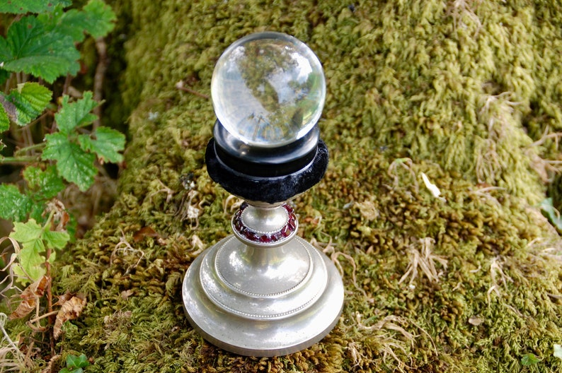 Vintage Crystal Ball and stand - Clear Glass Witches Ball /Gazing Ball -  Witchcraft - Altar - Scrying - Pagan - Wicca
