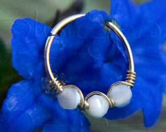 19e1431dc Mother of Pearl Gemstone Nose Hoop, Earring, Helix, Daith, Titanium, 316L Stainless  Steel, Sterling Silver, Rose Gold, Gold, 22G