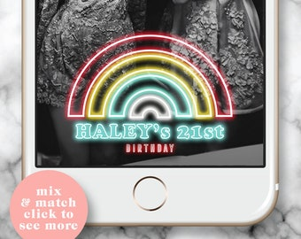 Rainbow Filter, Snapchat Filter Birthday, Snapchat Filter 21st, Rainbow Party, Snap chat Geofilter Party, 21st Birthday for her, Neon Filter