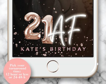 21 AF Snapchat Filter, 21AF Geofilter, 21st Birthday Filter for Snapchat, Custom 21 Birthday Gold Foil Balloon, Neon 21st Birthday Geotag
