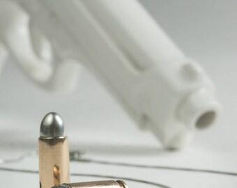 Pendant, bullet, bronze, sterling silver 925, handmade, for man, for woman